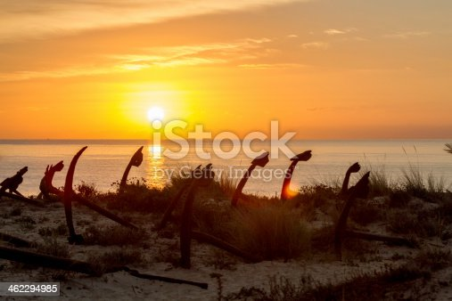 istock Morning atmosphere at the beach with anchors 462294985