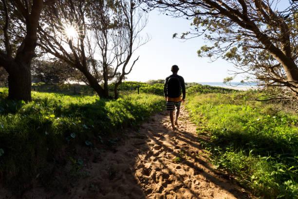 Morning Beach Pathway stock photo