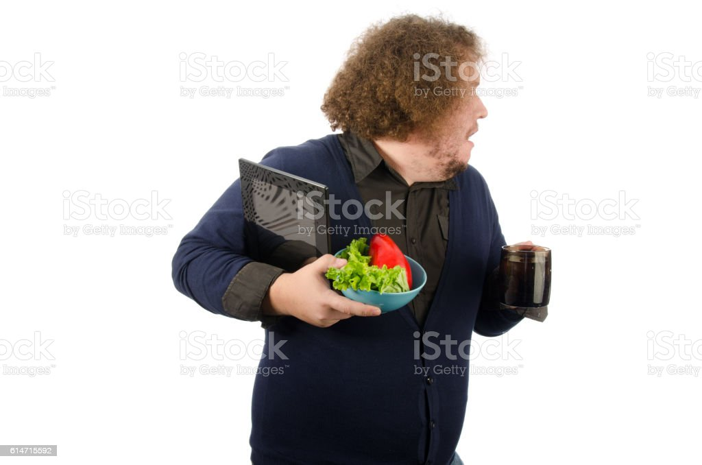 Morning breakfast. Man is late for work. stock photo