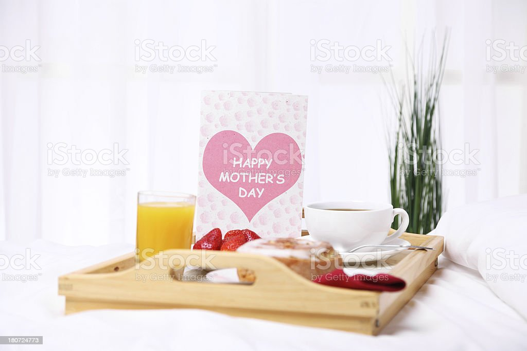 Morning Breakfast on Mother's Day stock photo
