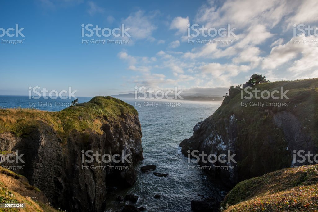 Morning Breaks Over Pacific Coast stock photo