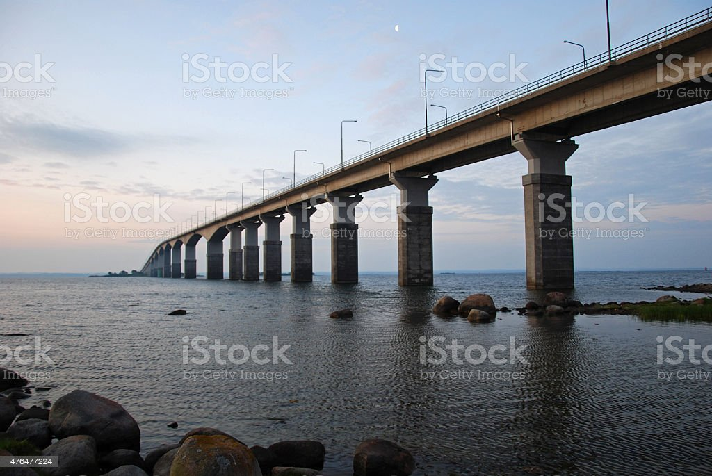 Morning bridge to Oland stock photo