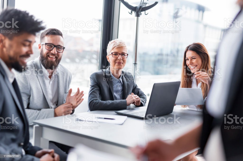 Morning briefing stock photo