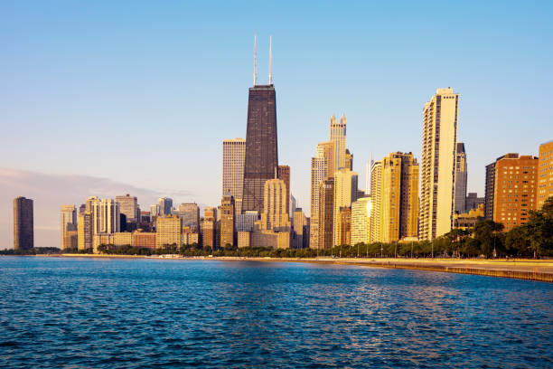 Morning by Gold Coast in Chicago stock photo