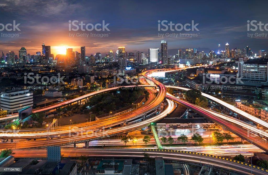 Morning city and highway bangkok thailand stock photo