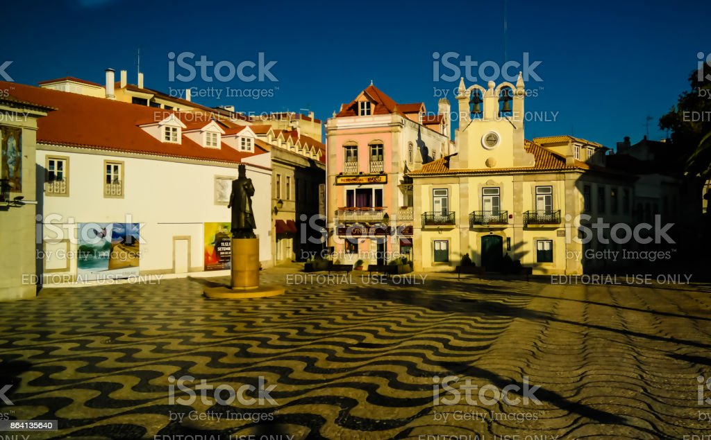 Morning cityscape of the City Hall and square, Cascais, Portugal royalty-free stock photo