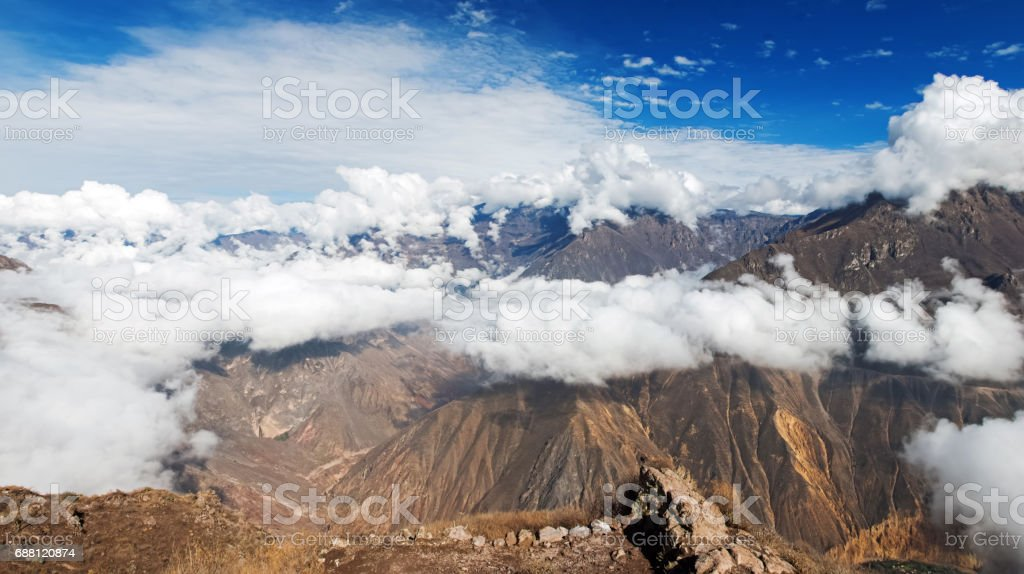 Morning clouds in Colca Canyon, Peru stock photo