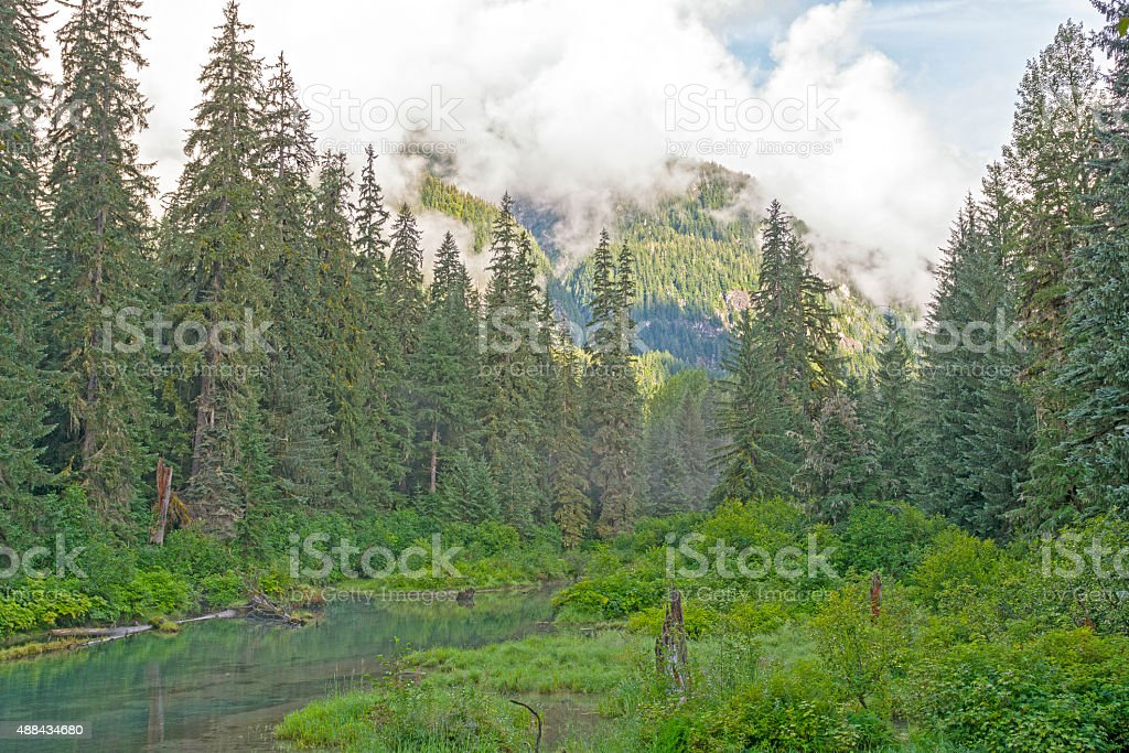 Morning Clouds in the Coastal Mountains stock photo