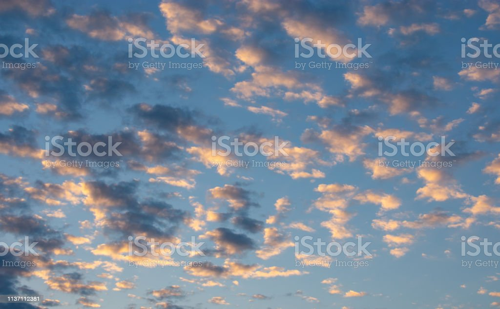morning cloudscape with blue sky stock photo