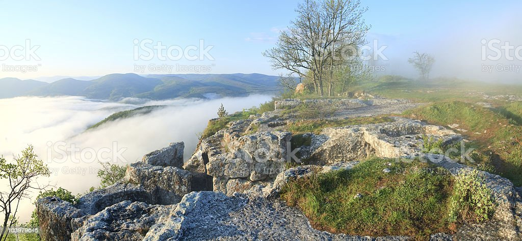 Morning cloudy view from top of Mangup ancient settlement royalty-free stock photo