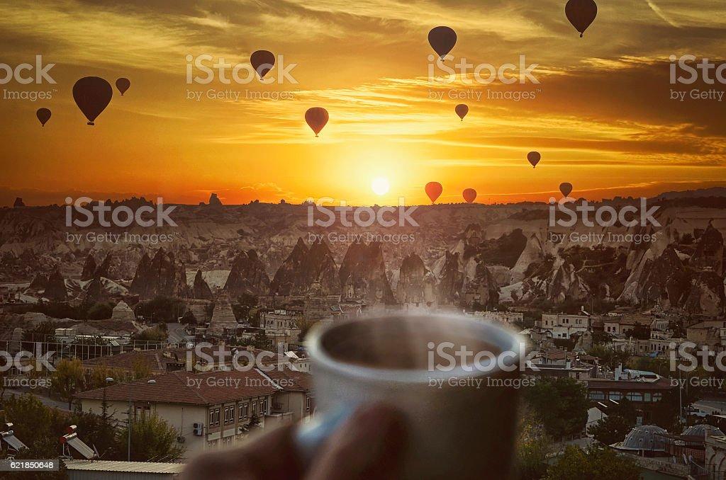Morning coffe , Hot air balloons  and amazing beautiful sunrise stock photo