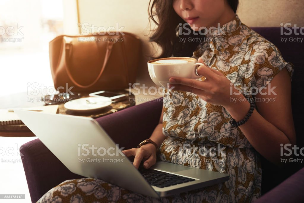 Morning coffee and news stock photo