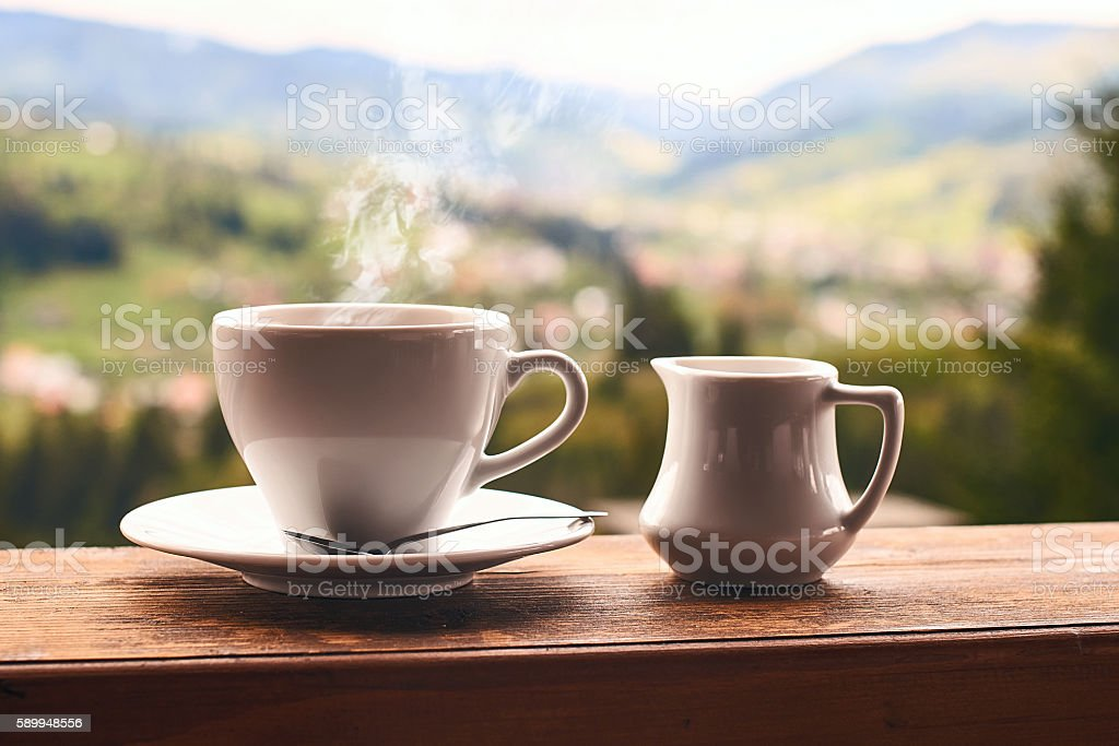 Morning coffee in the mountains stock photo