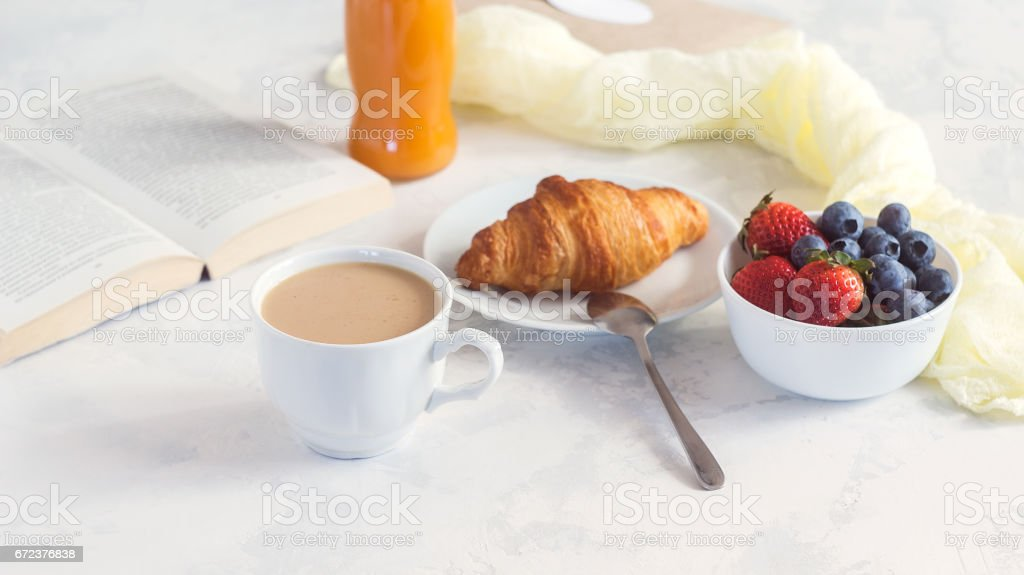 Morning Coffee Mug With Croissant Juice And Fresh Berries Cozy And Tasty Breakfast Selective Focuse Stock Photo Download Image Now Istock