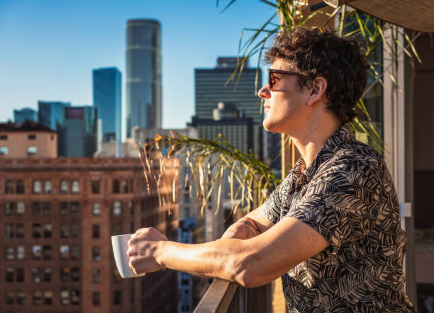 Morning coffee on a Los Angeles balcony stock photo