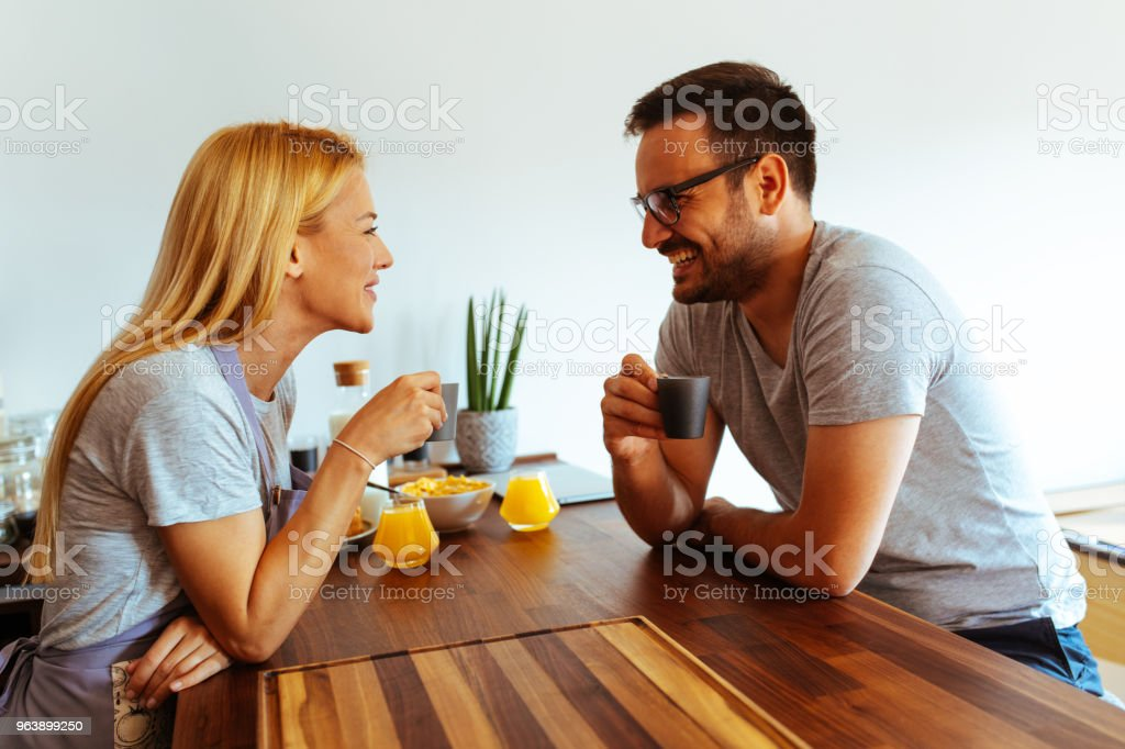 Morning coffee with loving partner. Couple living together - Royalty-free 20-29 Years Stock Photo