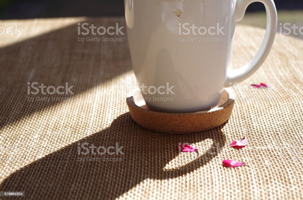 Morning Coffee with Petals stock photo