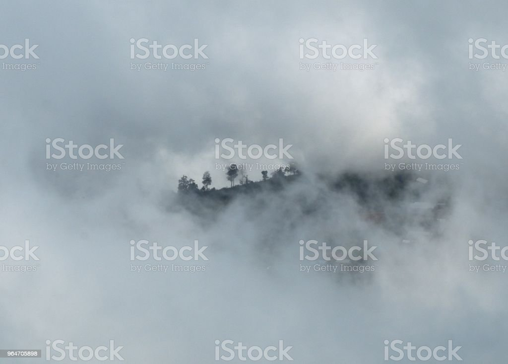 morning cold and fog floating on the mountain royalty-free stock photo