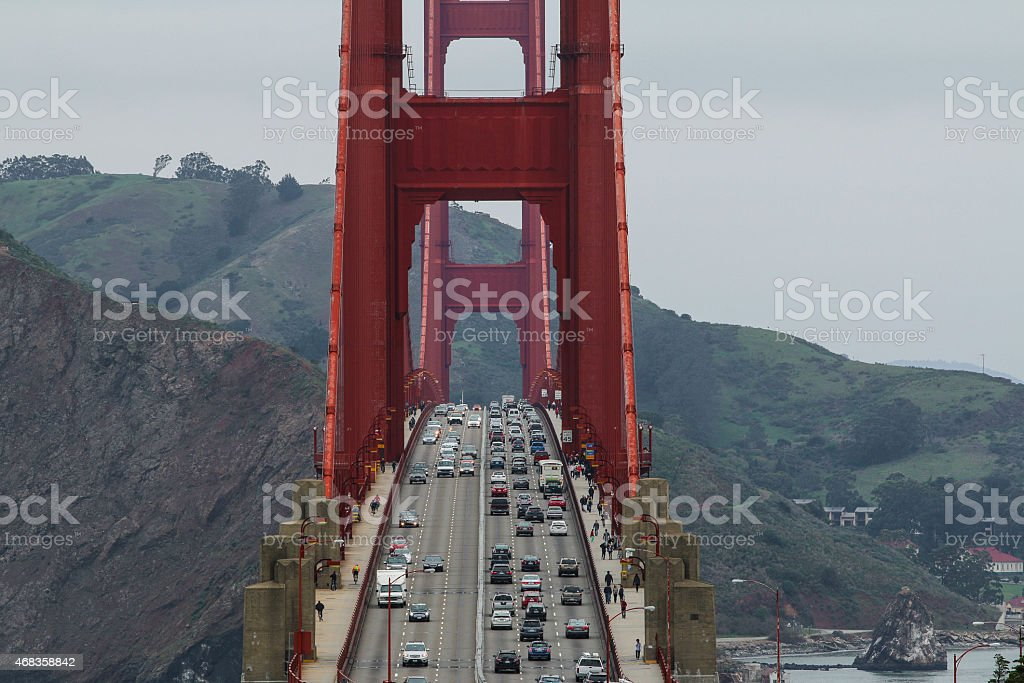 Morning Commute on the Golden Gate Bridge royalty-free stock photo