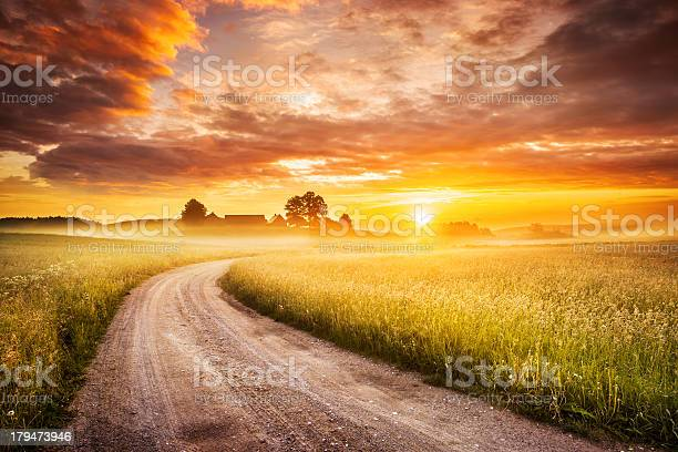 Morning Country Road Through The Foggy Landscape Colorful Sunrise Stock Photo - Download Image Now
