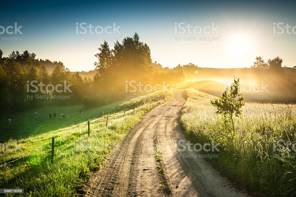 Morning Country Road through the Foggy Landscape - Colorful Sunrise - Royalty-free 2015 Stock Photo