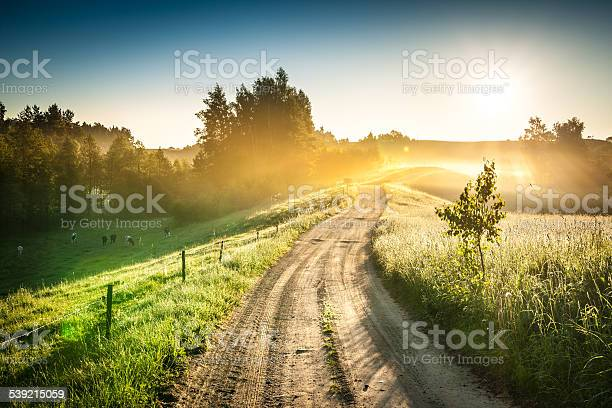 Photo of Morning Country Road through the Foggy Landscape - Colorful Sunrise