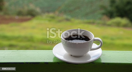 1135319558 istock photo Morning cup of coffee on green cabbage field background 696330202