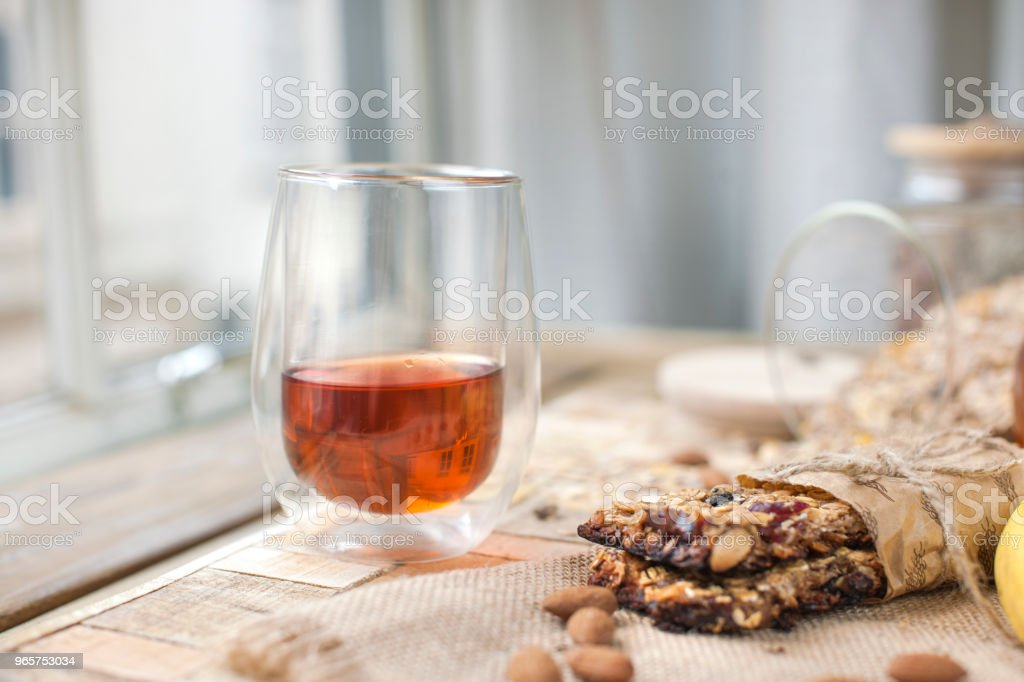Morning cup of tea with oatmeal cookies - Royalty-free Afternoon Tea Stock Photo