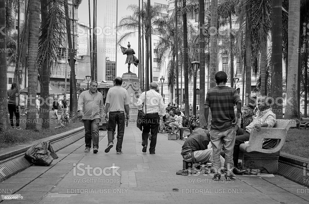 Morning daily in the 'Plaza de Caicedo' Cali, Colombia stock photo