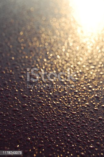 886746424 istock photo Morning dew on the rooftop of car with sunshine. 1178240073