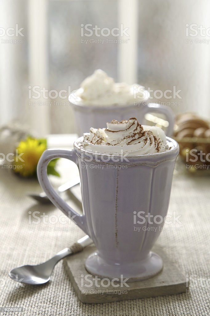 morning drink with whipped cream royalty-free stock photo