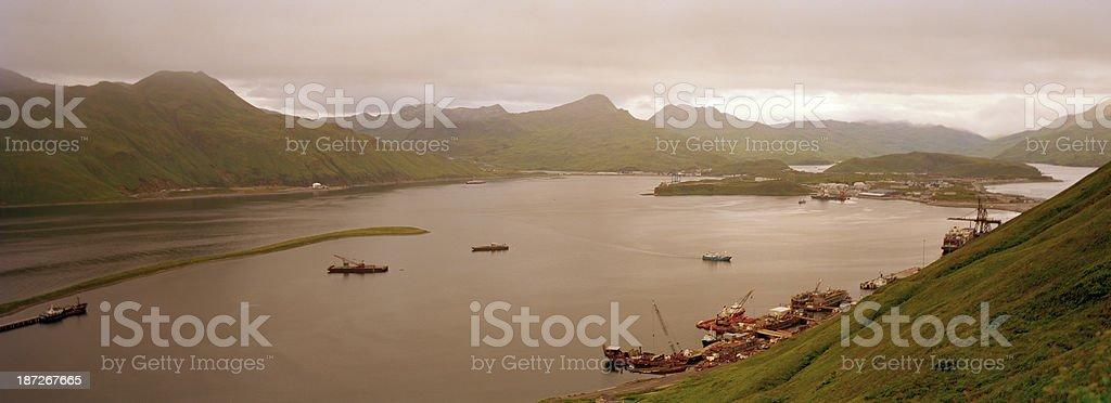 Morning, Dutch Harbor, Alaska stock photo