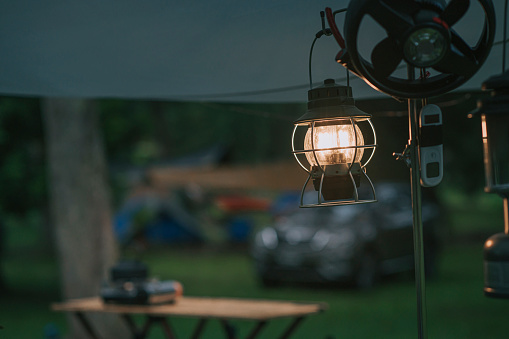 morning electric lamp hanging in camping tent light up