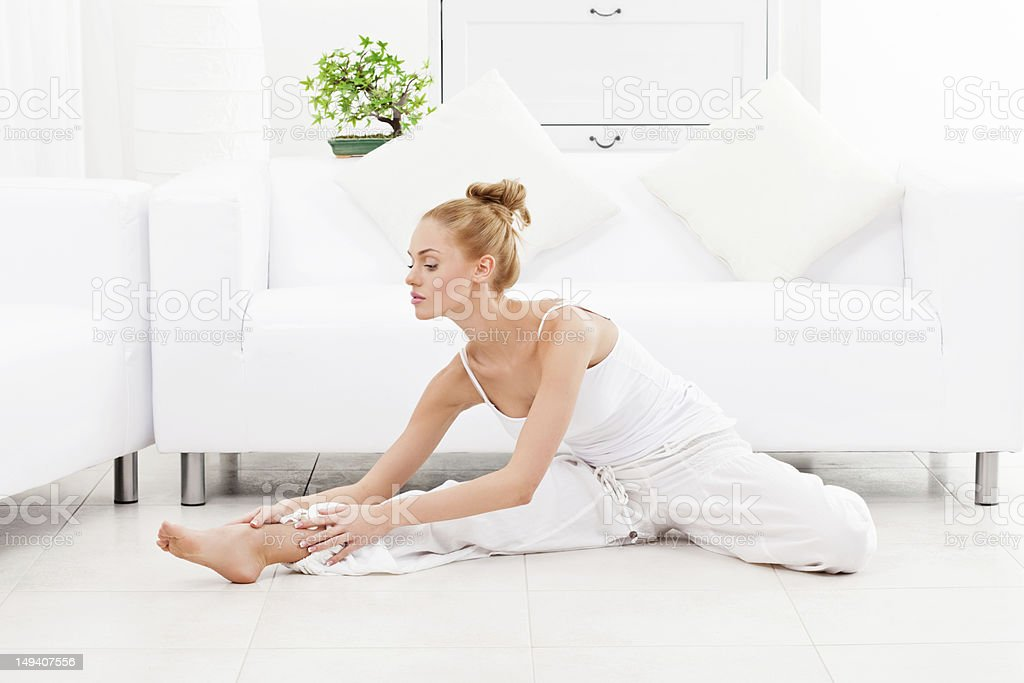 Morning exercises at home royalty-free stock photo