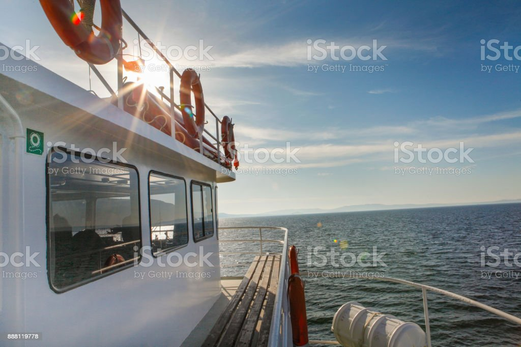 Morning ferry in the sea of Aegean in Turkey stock photo
