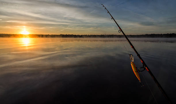 Morning fishing scenery in Sweden stock photo