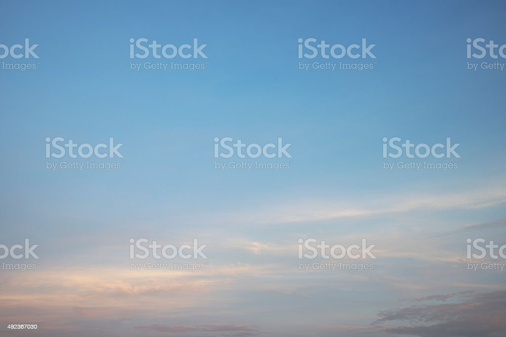 Morning fluffy cloud over blue sky stock photo