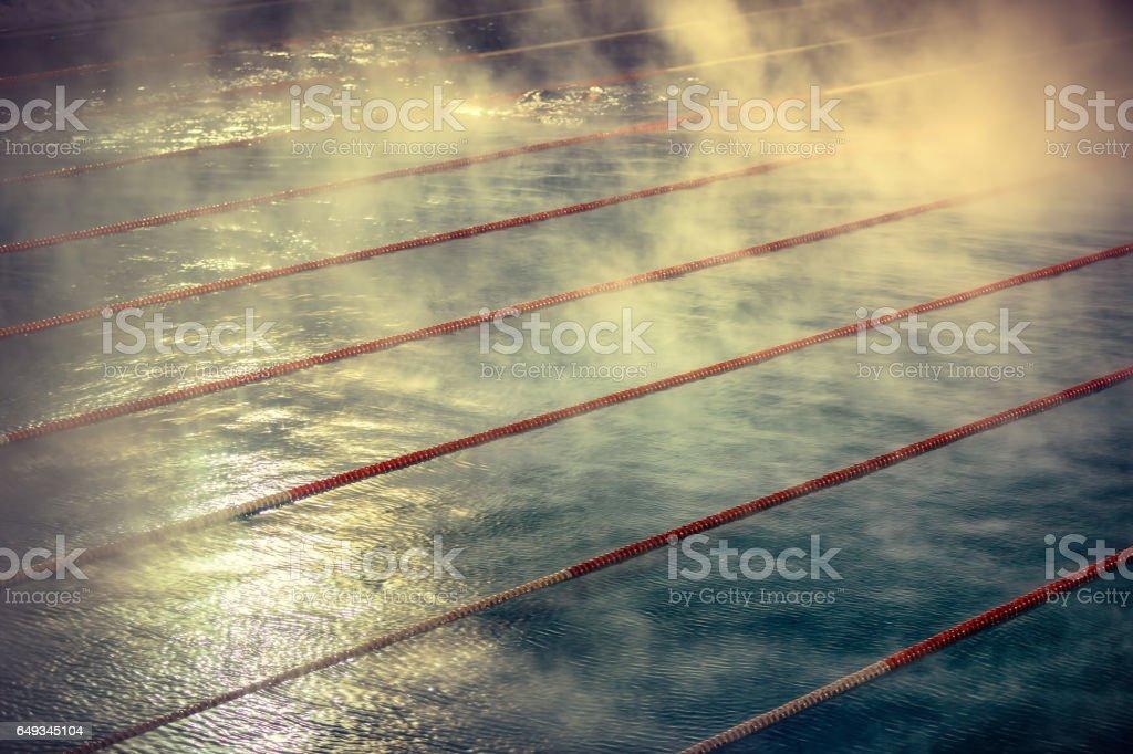Morning fog at Swimming pool - foto de stock