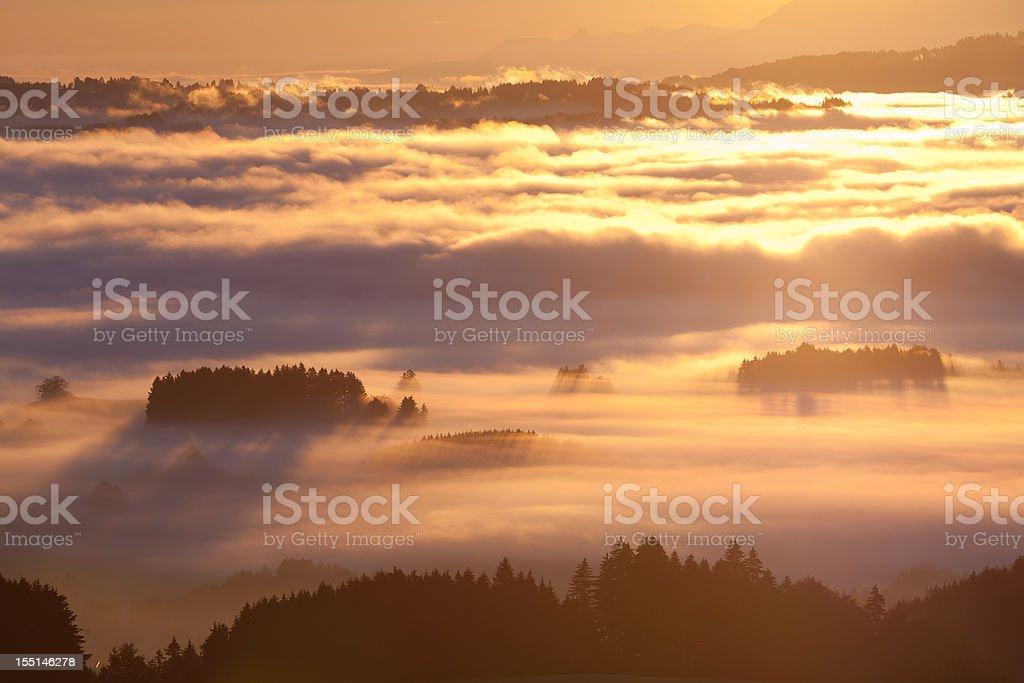 morning fog in autumn, bavaria germany royalty-free stock photo
