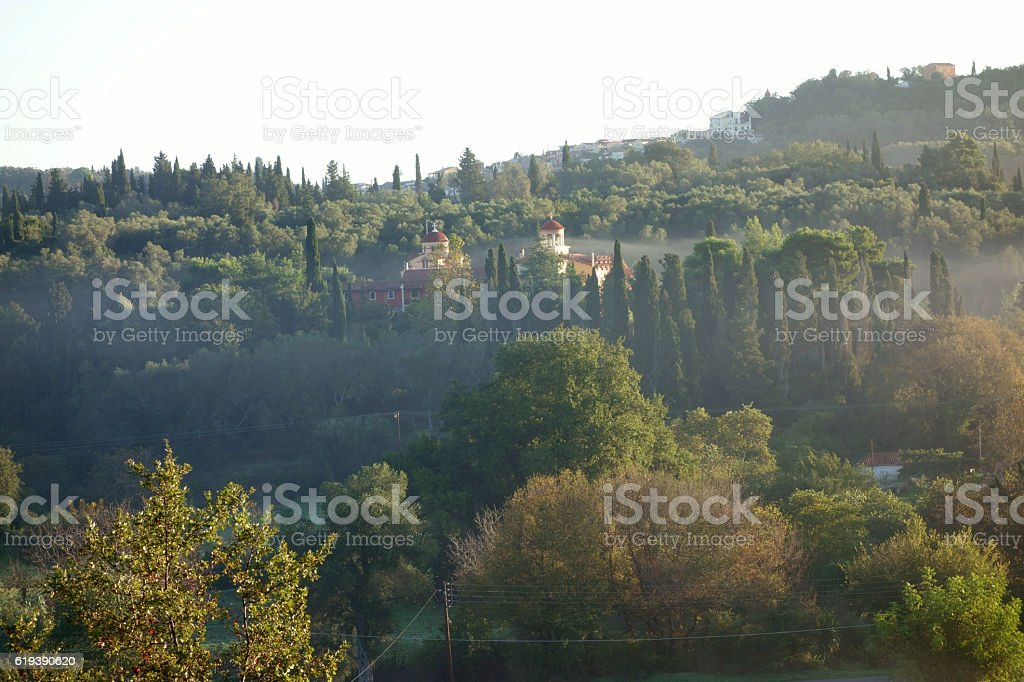 Morning fog in the hills, Corfu Trail, Greece stock photo