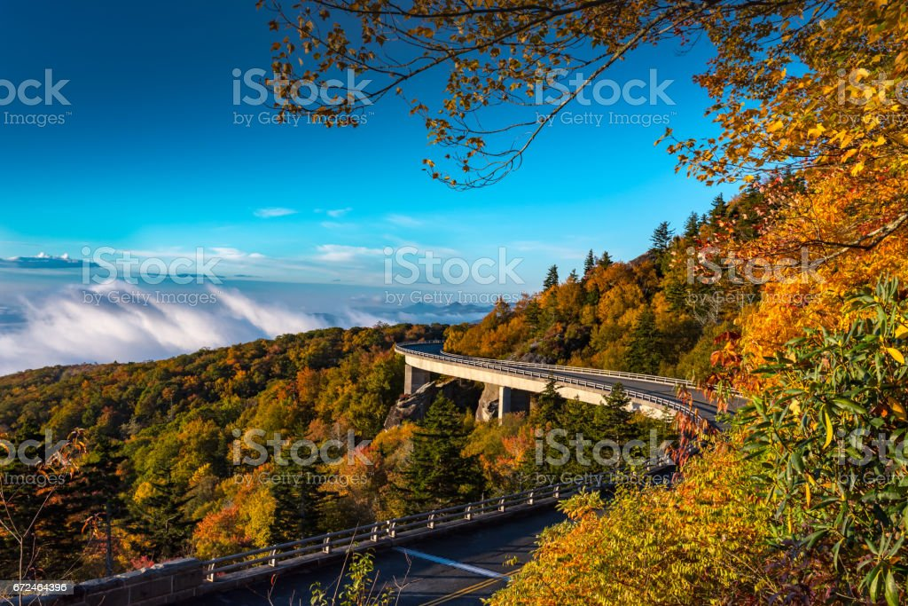 Morning Fog in the Valley Below Linn Cove Viaduct stock photo