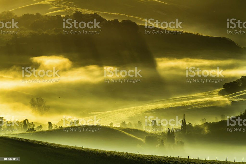 Morning fog in the valley, Italy royalty-free stock photo