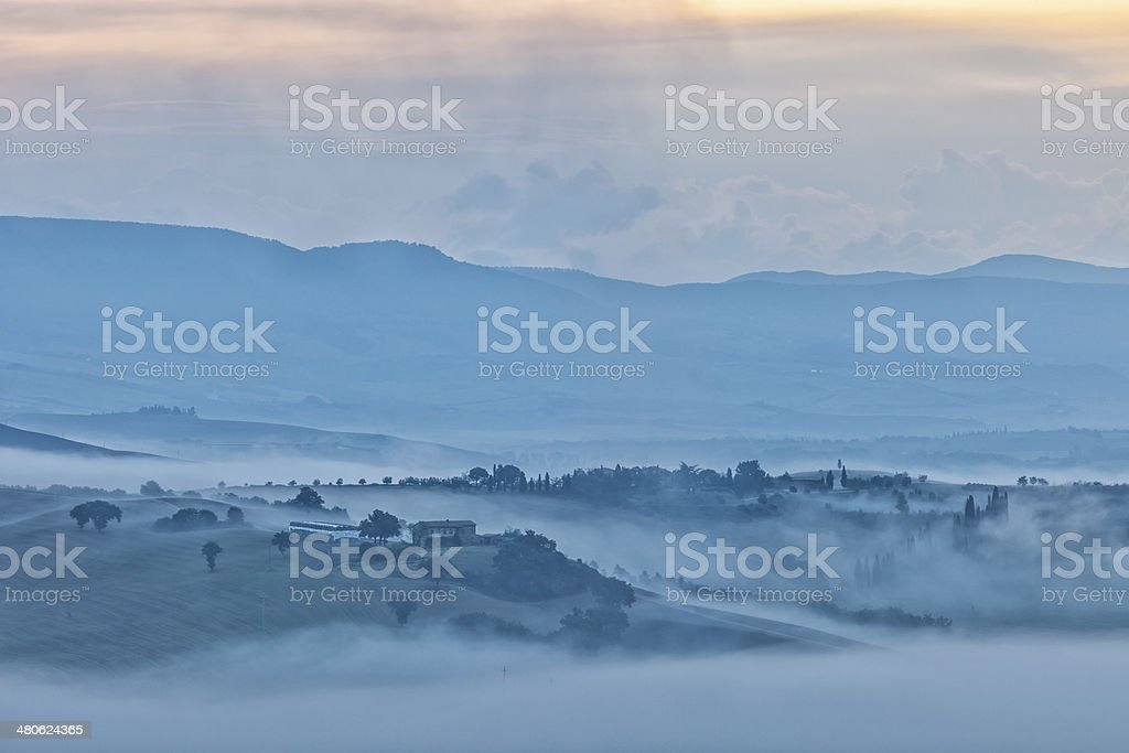 Morning Fog in Tuscan Landscape royalty-free stock photo