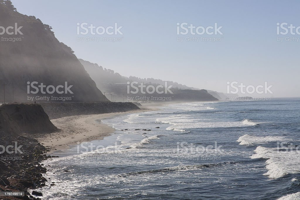 Morning fog on Highway One royalty-free stock photo