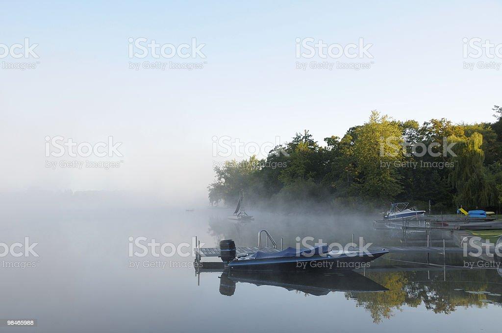 Morning Fog on Lake royalty-free stock photo