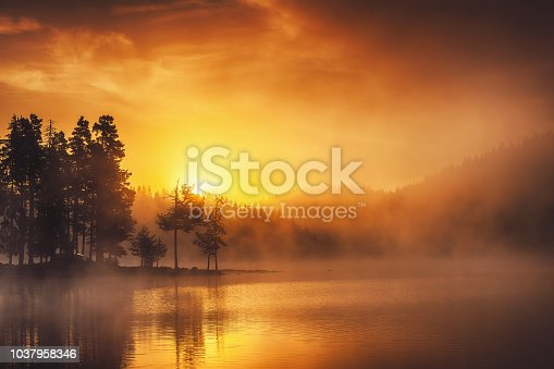 Morning fog on the lake, golden sunrise over the water.