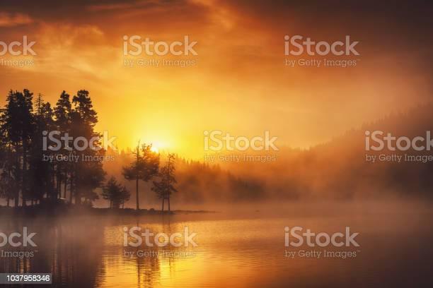 Photo of Morning fog on the lake, sunrise shot. Beautiful natural background.