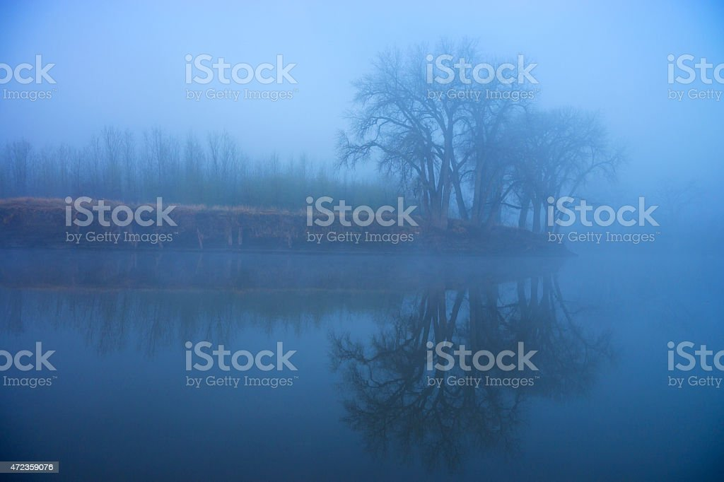 Morning Fog on the Red River stock photo