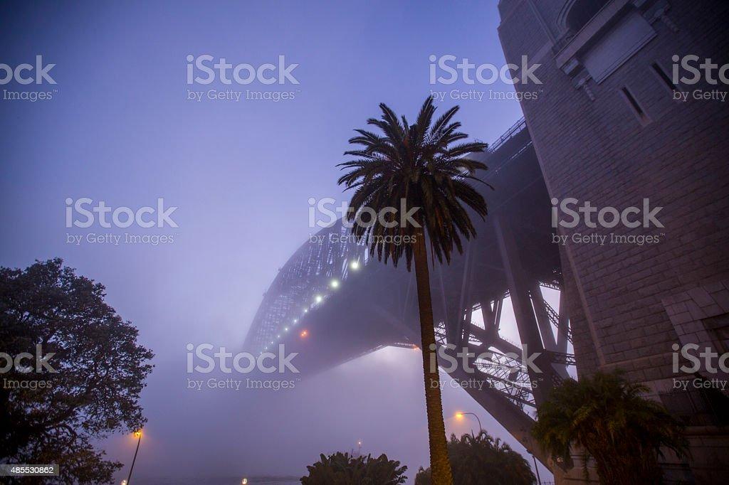 Morning fog on the Sydney Harbour Bridge stock photo