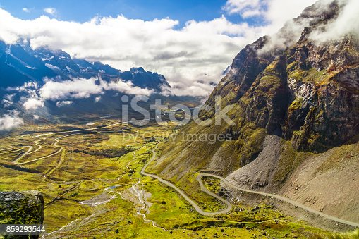 istock Morning fog over the Death Road in the Yungas of Bolivia 859293544